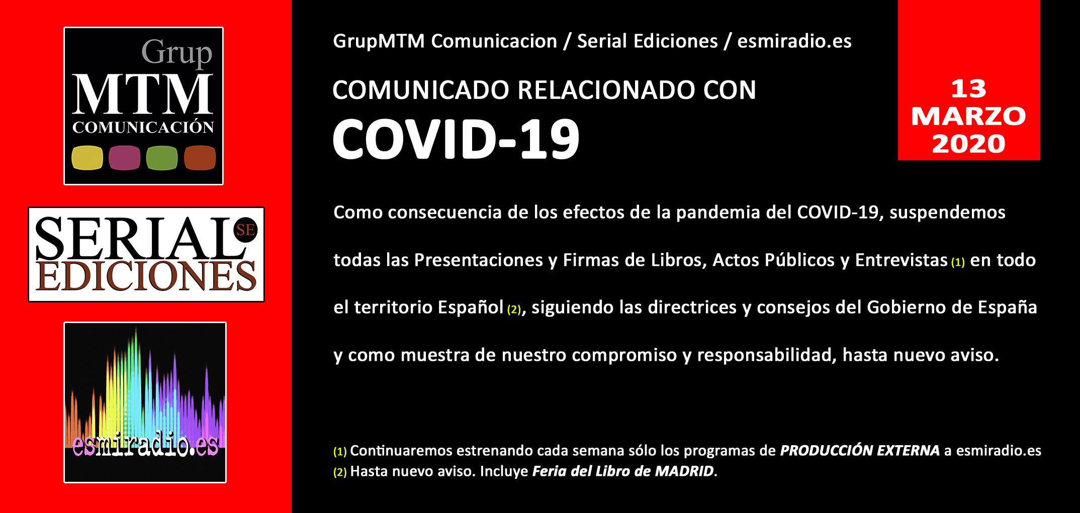 Comunicado Covid-19 GrupMTM Comunicación