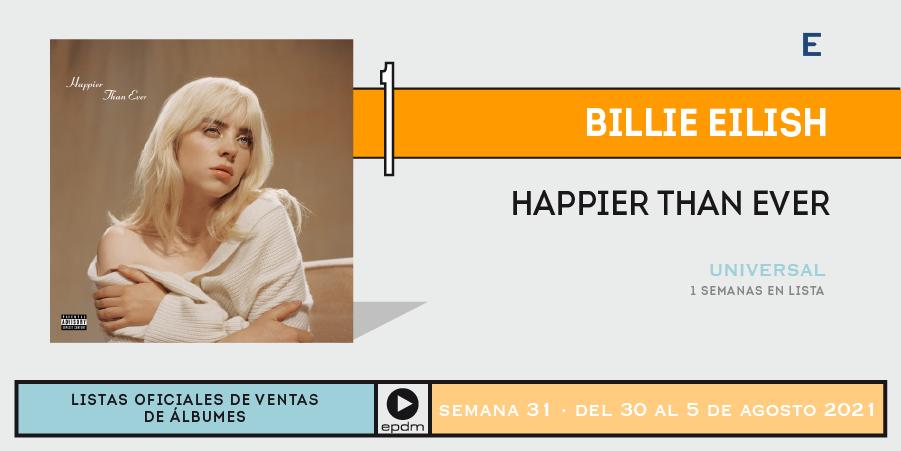 Happier Than Ever - Billie Eilish top 1 españa semana 33